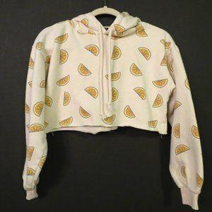 Forever 21 crop hoodie sweatshirt S Lemons Yellow